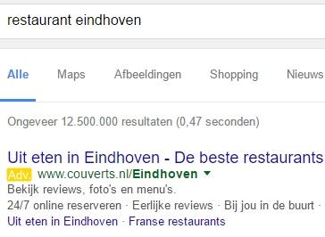 Google Adwords gele markering